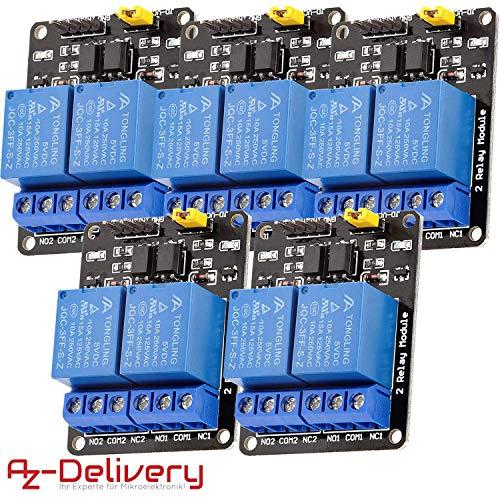 AZDelivery 5 x 2-Relais Modul 5V mit Optokoppler Low-Level-Trigger für Arduino inklusive eBook