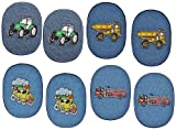 8 Stück - ovaler Flicken / Bügelbild Jeans - Fahrzeuge - 8,5 cm * 11,5 cm - oval - Bügelbilder - Aufnäher Aufnähen und Bügeln / Applikation für Jungen Kinder Fahrzeug