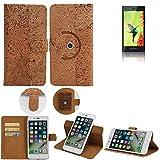 K-S-Trade Schutz Hülle für BlackBerry Leap Handyhülle Kork Handy Tasche Korkhülle Schutzhülle Handytasche Wallet Case Walletcase Flip Cover Smartphone