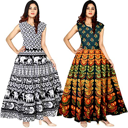 Silver Organisation Women\'s 100% Cotton Multicolor Dress (Combo of 2 pcs)