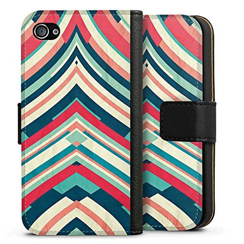 Apple iPhone X Silikon Hülle Case Schutzhülle Streifen Muster Gestreift Sideflip Tasche schwarz