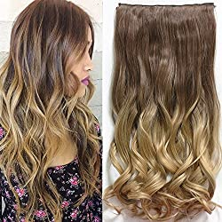 Neverland 24pulgadas (60cm) de Full Clip Tete en las extensiones de cabello ondulado pendientes Ombre Dip-Dye