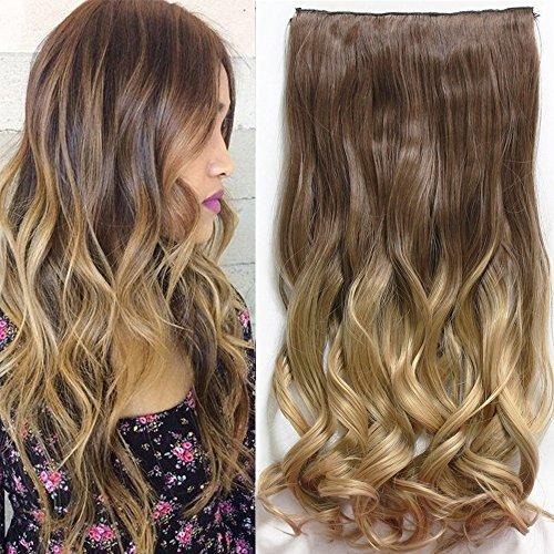 'never land 25sintetico capelli lisci extension 3/4vollem testa clip in der persone hanno quattro colori