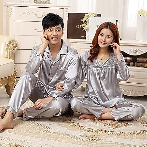 LY&HYL Primavera estate seta coppia pigiami sexy manica corta seta abbigliamento sottili accappatoi , 010 male long sleeved silver , xxl