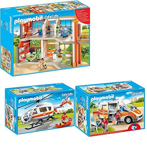 PLAYMOBIL® City Life Die freundliche Kinderklinik 3-tlg. Set 6657 6685 6686 Kinderklinik mit Einrichtung + Krankenwagen mit Licht & Sound + Rettungshelikopter