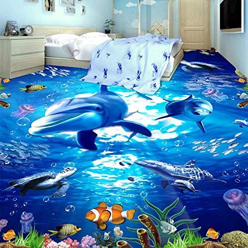 Giow PVC Selbstklebende wasserdichte verschleißfeste Anti-Rutsch-3D-Boden Ziegel Papier Aufkleber Hd Submarine World Dolphin Wallpaper Wandbilder, 430 * 300 cm Dolphin Papier