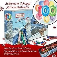 Geschenk zum 100. | Schweizer Schoggi Advent Kalender | Advent Kalender für Männer Advent Kalender Frauen Advent Kalender Frau Advent Kalender Munz & Minor Advent Kalender schoki
