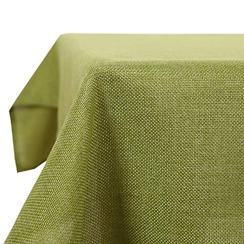 Deconovo Tischdecke Leinenoptik Lotuseffekt Tischwäsche Wasserabweisend Tischtuch 132x178 cm Grün