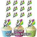 vorgeschnittenen Rainbow Rollschuhe–Essbare Cupcake Topper/Kuchen Dekorationen (12Stück)