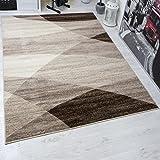 Moderner Wohnzimmer Teppich Geometrisches Muster Meliert in Braun Beige 160x220 cm