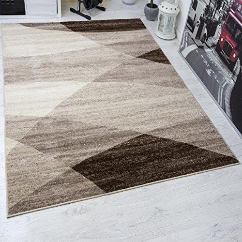 Moderner Wohnzimmer Teppich Geometrisches Muster Meliert in Braun Beige 160x220 cm (Beige-braun-teppich)
