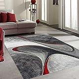 UNAMOURDETAPIS Tapis Salon Moderne et Design madila Rouge, Gris, Noir 160 x 160 cm