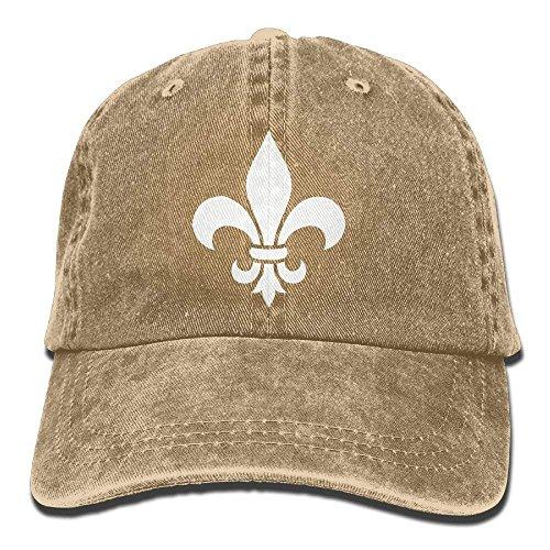 Trushop Fleur De Lis Washed Retro Adjustable Denim Hat Gym Caps for Man and Woman Baseball Caps Hüte -