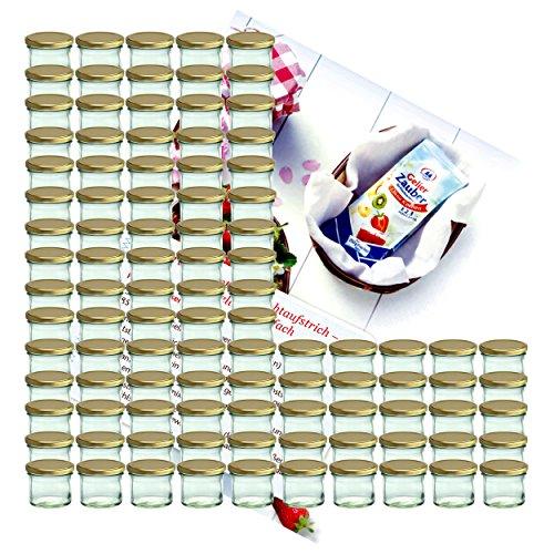MamboCat 100er Set Sturzglas 125 ml Marmeladenglas Einmachglas Einweckglas to 66 Goldener Deckel incl. Diamant-Zucker Gelierzauber Rezeptheft (Gold-kuchen-deckel)