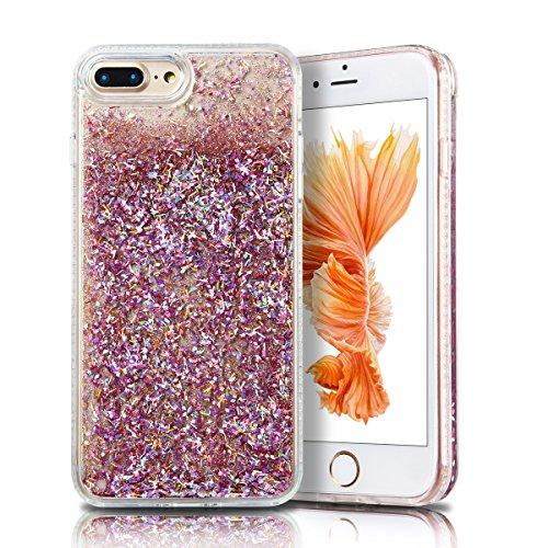 Cover iPhone 7 plus Custodia iPhone 7 plus Liquido Anfire Trasparente Rigida Duro Plastica PC Case per Apple iPhone 7 plus (5.5 Pollici) Sabbie Mobili Shell 3D Bling Glitter Floating Quicksand Copertu Rosa