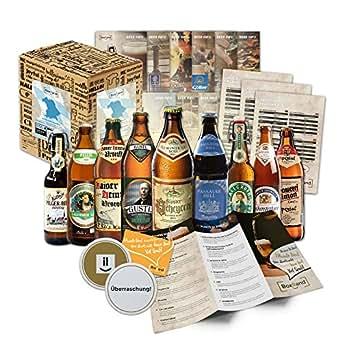 Specialità di birra bavarese (la migliore birra della Baviera) come una confezione di prova per il regalo in scatola regalo 9x0,5l + informazioni sulle birre, degustazione istruzioni + integratori + scatola regalo