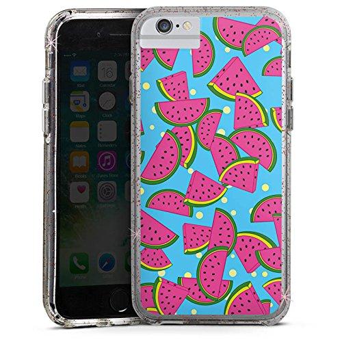 Apple iPhone X Bumper Hülle Bumper Case Glitzer Hülle Wassermelonen Sommer Summer Bumper Case Glitzer rose gold