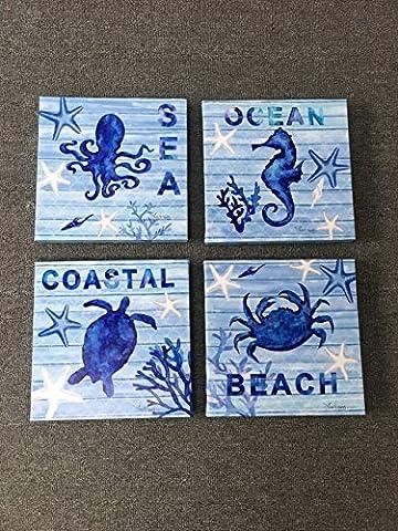 4pièces Bleu mer décoration murale Tortue, Hippocampus de peinture, pieuvre, Crabe Impressions sur toile Océan animaux photos pour maison moderne Décor Cadeau