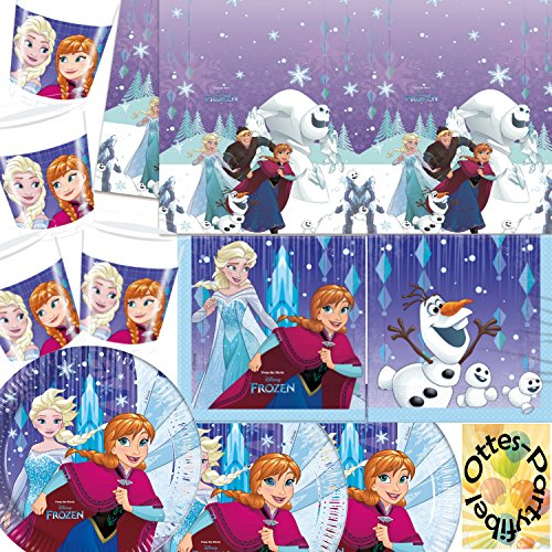 Die Eiskönigin Anna & Elsa Snowflake Teller Becher Servietten Tischdecke 53 Teile Party-Deko Set für 16 Personen