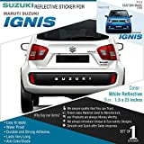 #6: Suzuki Decal for Maruti Suzuki Ignis - White Reflective for Rear Bumper