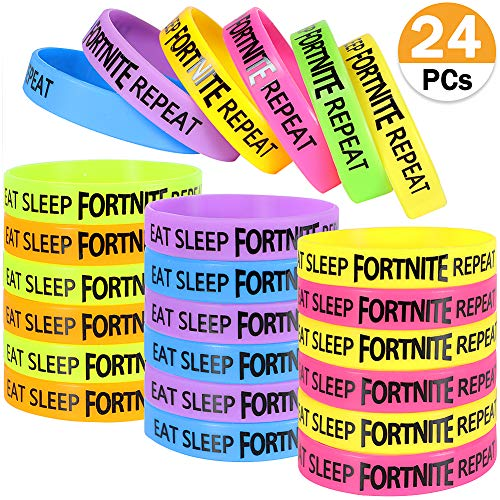LlorenteRM Silicone Eat Sleep Fort Repeat Wristbands Set Party Accessories Supplies Bracelets Wristband For Fans Gamer Gifts Set 24Pcs
