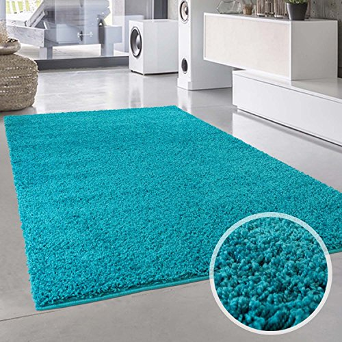 Hochflor Teppich Türkis Langflor Shaggy Modern Einfarbig Rund Rechteckig Wohnzimmer Schlafzimmer 150x150 cm Quadrat