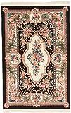 CarpetFine: China Teppich 118x178 Beige,Schwarz - Handgeknüpft - Ornament