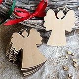 ODN 10 pcs Weihnachtsanhänger aus Holz Christbaumschmuck Baumbehang (Engel)