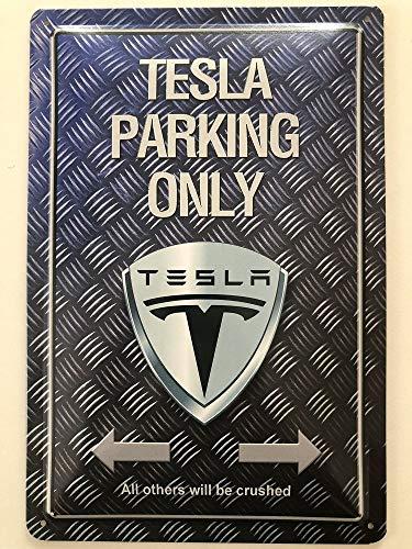 Deko 7 Blechschild 30 x 20 cm Tesla Parking Only - Motorrad/Auto