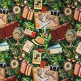 SCHÖNER LEBEN. Digitaldruck Baumwolljersey Jersey Stoff Globus Koffer Flugzeuge grün braun 1,55m