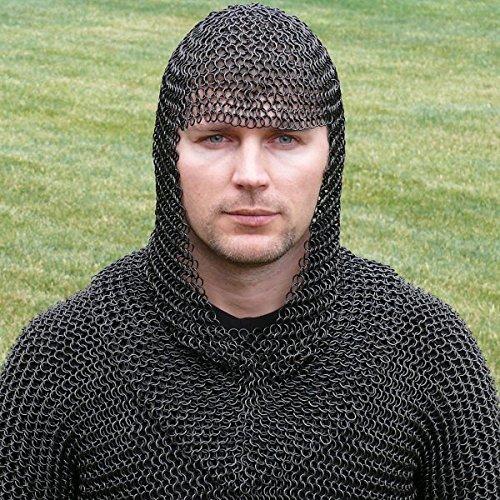 NASIR ALI Kette Mail Bundhaube Schwarz Kettenhaube Knight Armor Reenactment Kostüm LARP SC (Mittelalterliche Drama Kostüm)