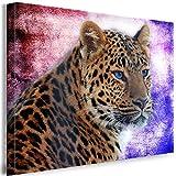 Julia-art Leinwandbilder - Leopard Abstrakt Bild 1 teilig - 60 mal 40 cm Leinwand auf Rahmen - sofort aufhängbar ! Wandbild XXL - Kunstdrucke QN.35-2