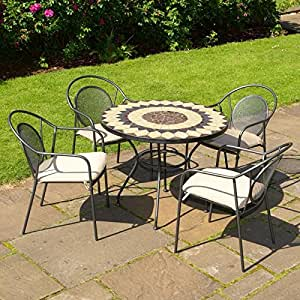 Montreal Metal And Mosaic 4 Seat Garden Bistro Set Garden Patio Amazon Co Uk Kitchen Amp Home