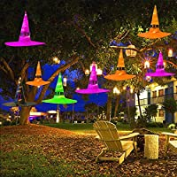 Glowing Witch Hat with Hook 5 Pack Halloween Decorations Hanging Lighted Glowing Witch Hats Halloween Lights String Decorations for Costume Party Cosplay Props Outdoor Yard Tree (5 Color)
