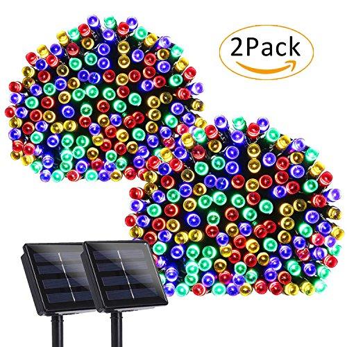 lederTEK 2 PACK Guirnalda de Luces 200 LED Solar de Color Multi 8 Modos para Decorar Patio, Jardín, Terraza, Fiesta, Navidad, Boda
