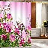 Naturlandschaft Dekor Duschvorhang Rosa Blume,Schmetterling, grüne Blätter 71