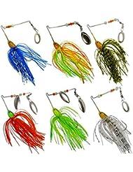 OVERMAL 6pc Pêche Hard Spinner Lure Spinnerbait Pike Basse-Liberté de couleur et de style à envoyer