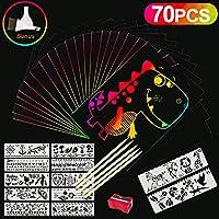 Vykor Scratch Art for Kids Paper Art Rainbow Scratch Cards Set 70PCS Black Scratch Paper Magic Scratch Drawing Crafts Paper Art Kit Scratch Off Painting. Educational Classroom Art Gifts for Children