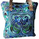 Damen Umhänge-Tasche groß blau Ethno Muster Frauen Damen Mädchen aus Stoff Pacific 35 x 35 x 5 cm