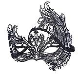 WDERYL Halloween-Maske, Venedig Eisen Phoenix Durchbrochene Metalldiamant-Schablonen-Partei-Schwarz Schmiedeeisen Half Face mit Drill-Maske -