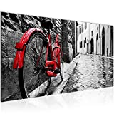 Bilder Rot Graues Fahrrad Wandbild Vlies - Leinwand Bild XXL Format Wandbilder Wohnzimmer Wohnung Deko Kunstdrucke Rot Grau 1 Teilig - MADE IN GERMANY - Fertig zum Aufhängen 004712a