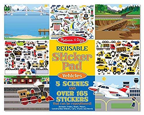Melissa & Doug Wiederbenutzbarer Stickerblock - Fahrzeuge (165 Sticker)
