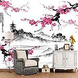 Yosot Paysage Japonais Papier Peint 3D Avec Sakura Branches Retro Murale Pour Salon Chambre À Coucher Canapé Papier Mur À L'Arrière-Plan-140Cmx100Cm