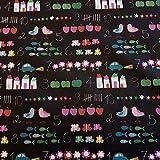 Stoff Meterware Baumwolle Tafel schwarz Autos Zahlen Kreide