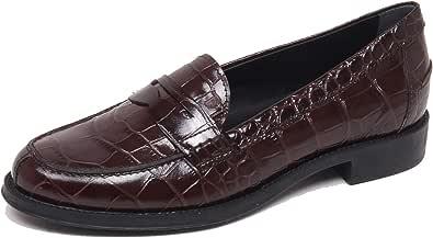 F6370 Mocassino Donna Dark Brown Tod'S Scarpe Stampa Cocco Loafer Shoe Woman