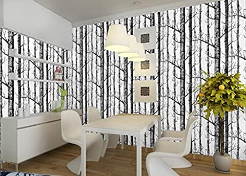 Fyzs Nordic wind, forest, personality, wallpaper, wallpaper, wallpaper, black and white, tree trunks, birch, sofa, TV backdrop, wallpaper,C