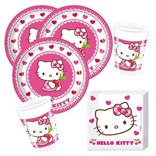 36- teiliges Party-Set Hello Kitty Teller Becher Servietten für 8 Kinder (Hello Geburtstag Kitty)