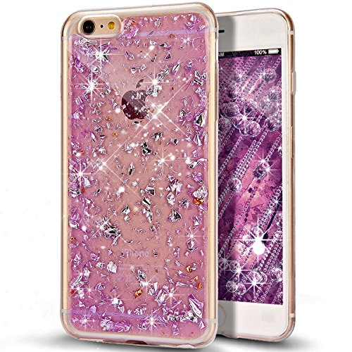 Custodia iPhone 6S, Custodia iPhone 6, Case Cover per iPhone 6S / 6, ikasus® Shiny Sparkly Bling Bling Glitter iPhone 6S / 6 Custodia Cover [Crystal TPU] [Shock-Absorption] Protettiva Trasparente Ultr Viola Scintillio Bling