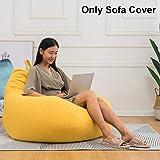 Tongdejing - Poltrona a sacco in cotone e lino, ergonomica, ideale per interni e soggiorno, senza riempire, Giallo…
