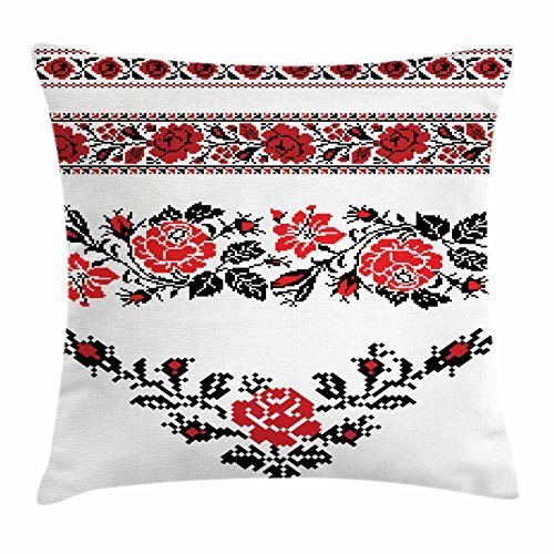 d330a5691f Ukrainian Throw Pillow Cushion Cover, Romantic Embroidery Roses Ethnic  Valentines Day Image Feminine Themes, Decorative Square Accent Pillow Case,  18 ...